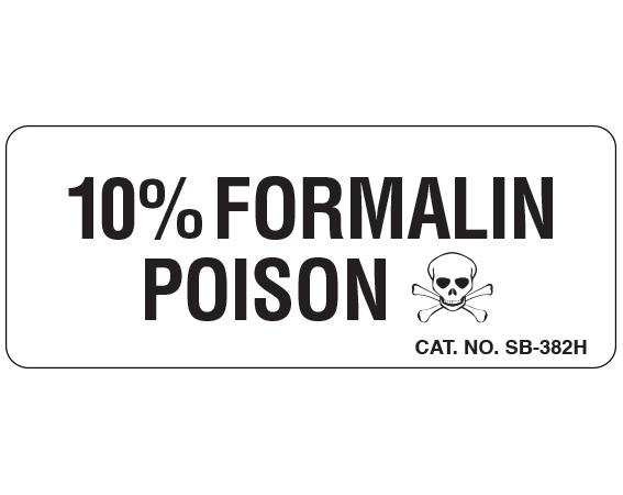"White 1 "" x 2-1/2"" Caution Labels for Pathology Specimen Storage  - With Imprint: 10% FORMALIN / POISON"