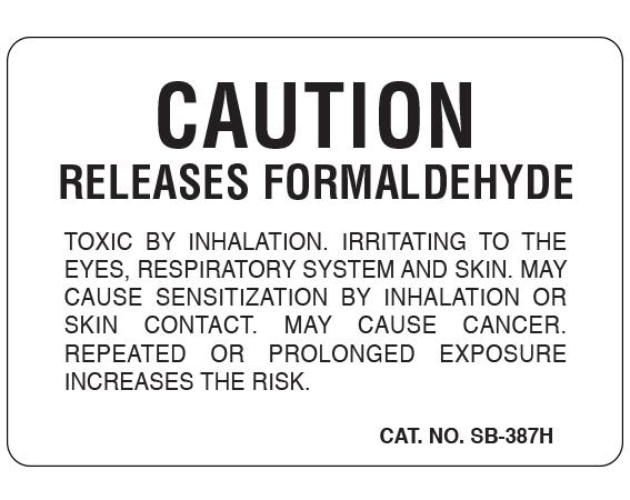 "White 1-3/4"" x 2-1/2"" Caution Labels for Pathology Specimen Storage  - With Imprint: CAUTION / RELEASES FORMALDEHYDE ..."