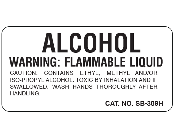 """White 1 """" x 2"""" Caution Labels for Pathology Specimen Storage  - With Imprint: ALCOHOL / WARNING: FLAMMABLE LIQUID/ CAUTION: CONTAINS ETHYL METHYL AND/OR ..."""