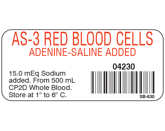 """White 1"""" x 2-1/4"""" Blood Product Labels with Codabar Symbology  - With Imprint: AS-3 RED BLOOD CELLS / ADENINE-SALINE ADDED / 04230 / 15.0 mEq Sodium / added. From 500 mL / CP2D Whole Blood. / Store at 1 to 6 C."""