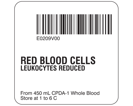 """White 2 """" x 2"""" Red Blood Cells Product Labels for Compliance with ISBT 128 Standards  - With Imprint: E0209V00 / RED BLOOD CELLS / LEUKOCYTES REDUCED / From 450 mL CPDA-1 Whole Blood / Store at 1 to 6 C"""