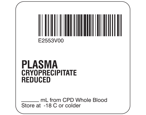 """White 2 """" x 2"""" Plasma Product Labels for Compliance with ISBT 128 Standards  - With Imprint: E2553V00 / PLASMA / CRYOPRECIPITATE / REDUCED / _____ mL from CPD Whole Blood / Store at -18 C or colder"""