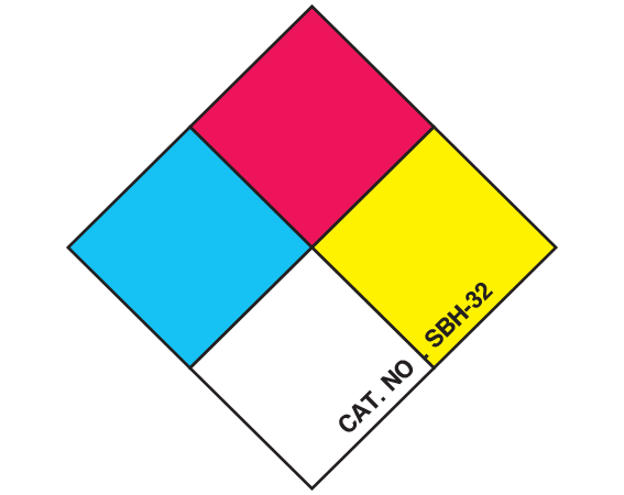 "White 1"" x 1"" Chemical Hazard Identification Labels  - With Imprint: CHEMICAL HAZARD SYMBOL"