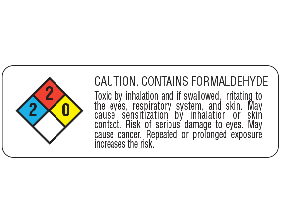 """White 1"""" x 3"""" Chemical Hazard Communication Labels  - With Imprint: CAUTION. CONTAINS FORMELDEHYDE / Toxic by inhalation and if swallowed"""