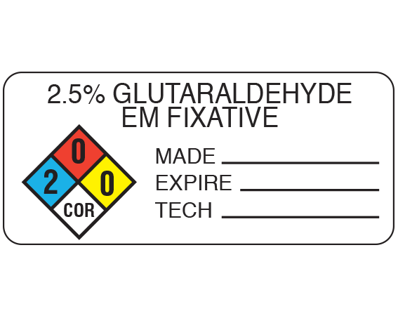 """White 1"""" x 2-1/4"""" Chemical Hazard Information Labels  - With Imprint: 2.5% GLUTARALDEHYDE / EM FIXATIVE / MADE _____ ..."""