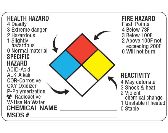 """White 2"""" x 3"""" Chemical Hazard Information Labels  - With Imprint: HEALTH HAZARD FIRE HAZARD / 4 DEADLY FLASH POINTS ..."""