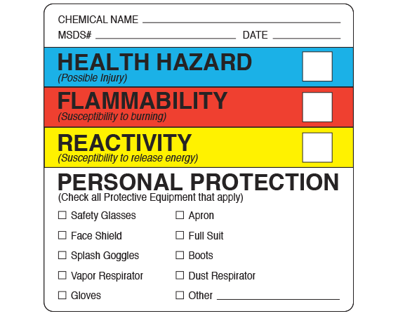 """White 2-1/4"""" x 2-1/4"""" Chemical Hazard Information Labels  - With Imprint: CHEMICAL NAME _____ / MSDS # _____ DATE _____ / HEALTH HAZARD ..."""