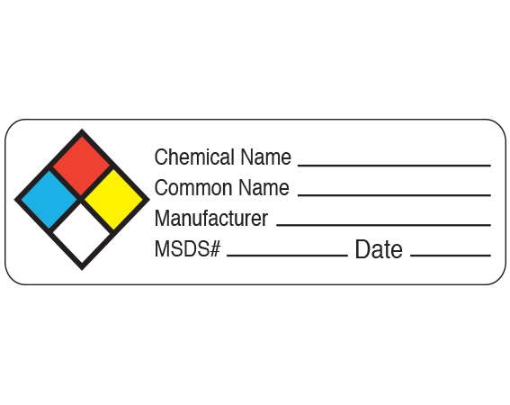 """White 1"""" x 3"""" Chemical Hazard Information Labels  - With Imprint: Chemical Name _____ / Common Name _____ / Manufacturer _____ / MSDS # _____ Date _____"""