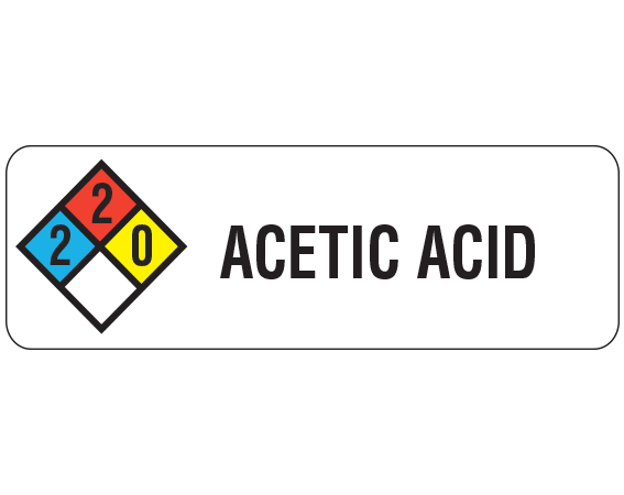 """White 1"""" x 3"""" Chemical Hazard Communication Labels  - With Imprint: ACETIC ACID"""