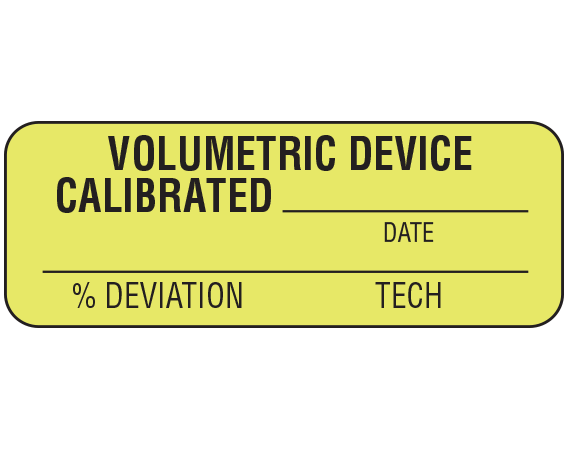 """Fluorescent Chartreuse 3/4"""" x 2"""" Communication Labels for Equipment Calibration  - With Imprint: VOLUMETRIC DEVICE / CALIBRATED _____ / DATE / _____ / % DEVIATION TECH"""