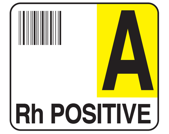 """White 1-1/2"""" x 1-3/4"""" Bar Coded Group Type Blood Identification Labels - Codabar  - With Imprint: A / Rh POSITIVE"""