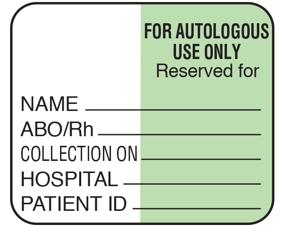 """White 1-1/2"""" x 1-3/4"""" Bar Coded Information Labels for Blood Testing - Codabar  - With Imprint: FOR AUTOLOGOUS / USE ONLY / Reserved for / NAME _____ / ABO/Rh _____ / COLLECTION ON _____ / HOSPITAL _____ / PATIENT ID _____"""