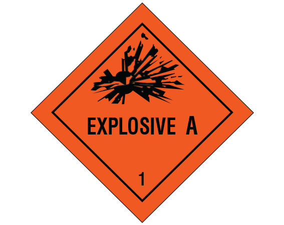 """Fluorescent Red 7/8"""" x 7/8"""" Hazardous Package Contents Transportation Warning Labels  - With Imprint: EXPLOSIVE A / 1"""