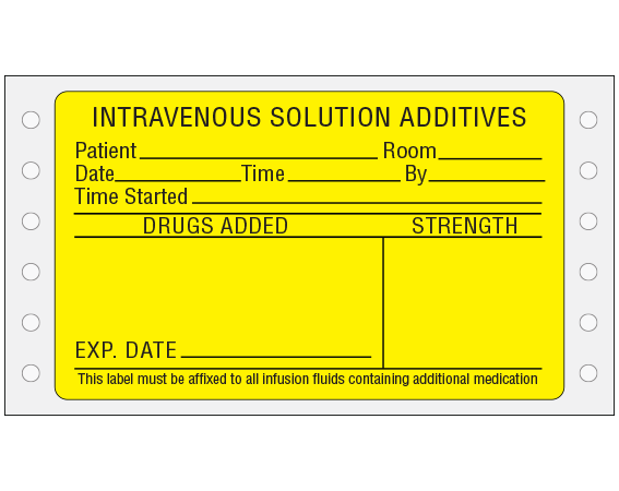 """Yellow 2-7/16 """" x 4"""" Pinfed Printer Labels for Intravenous Solution Additives  - With Imprint: Intravenous Solution Additives / Patient__Room___ / Date_ Time__ By__ / Time Started__ / Drugs Added___ / Strength"""