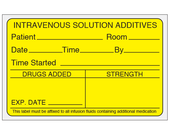 """Yellow 2-7/16 """" x 4"""" Intravenous Solution Additives Labels for the Pharmacy  - With Imprint: Intravenous Solution Additives / Patient__Room___ / Date_ Time__ By__ / Time Started__ / Drugs Added___ / Strength"""