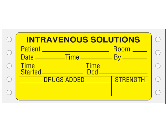 """Yellow 1-3/4 """" x 3-1/2"""" Pinfed Printer Labels for Intravenous Solutions  - With Imprint: Intravenous Solutions / Patient__ Room__ / Date__ Time__ By__ / Time Time / Started__ Dcd__ / Drugs Added__Strength"""