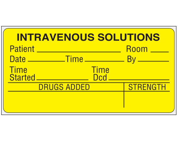 """Yellow 1-3/4 """" x 3-1/2"""" Intravenous Solutions Labels for the Pharmacy  - With Imprint: Intravenous Solutions / Patient__ Room__ / Date__ Time__ By__ / Time Time / Started__ Dcd__ / Drugs Added__Strength"""
