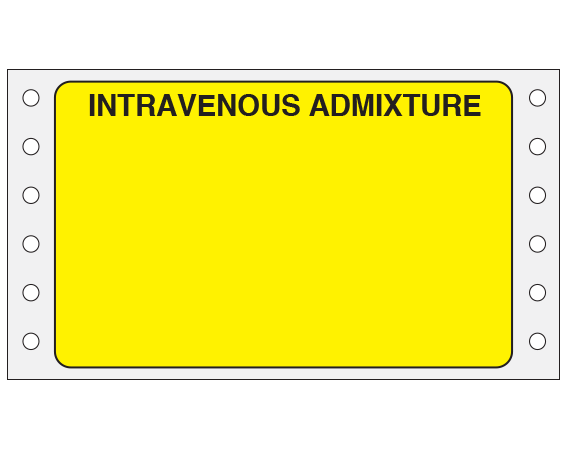 """Yellow 2-7/16 """" x 4"""" Pinfed Printer Labels for Intravenous Admixtures  - With Imprint: Intravenous Admixture"""
