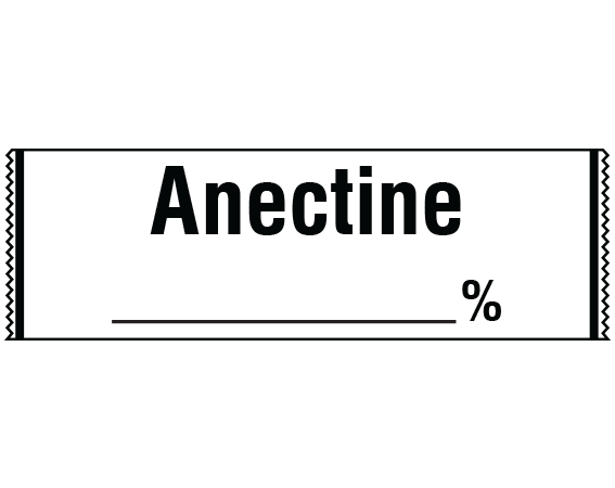 """White 1/2"""" x 500"""" Anesthesia Drug Labels for Syringe Identification - Tape Form  - With Imprint: ANECTINE _____%"""