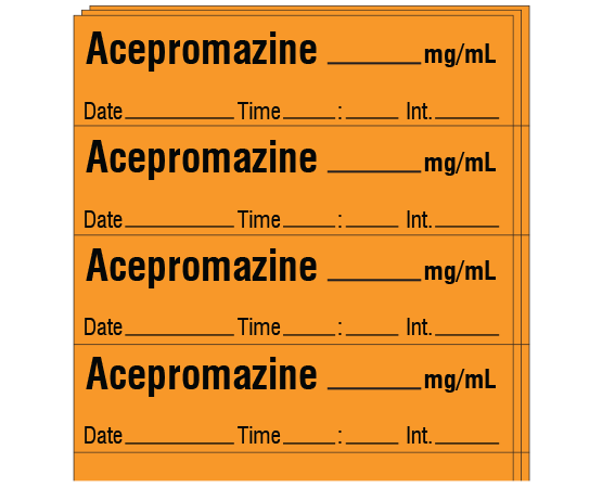"""Orange 1/2"""" x 2"""" Anesthesia Drug Labels for Syringe Identification - Pack Form  - With Imprint: Acepromazine _____ mg / mL / Date _____ Time _____ Int. _____"""