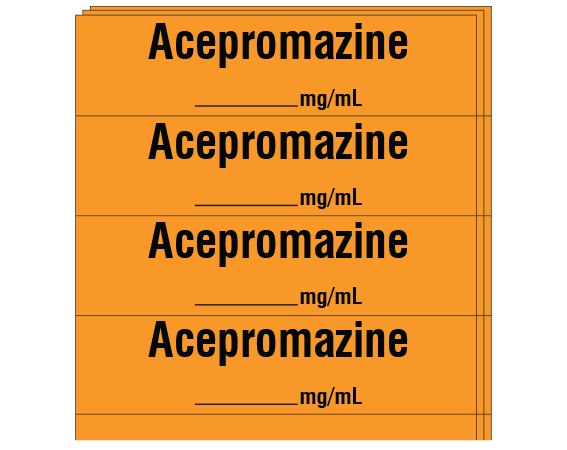"Orange 1/2"" x 2"" Anesthesia Drug Labels for Syringe Identification - Pack Form  - With Imprint: Acepromazine / _____ mg/mL"