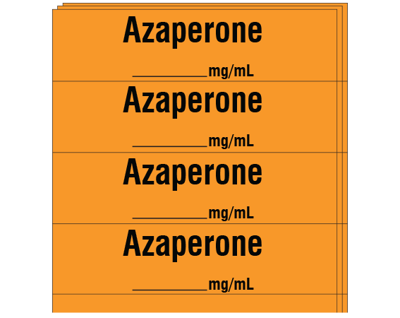"""Orange 1/2"""" x 2"""" Anesthesia Drug Labels for Syringe Identification - Pack Form  - With Imprint: Azaperone / _____ mg/mL"""