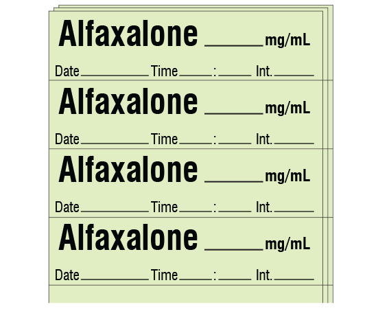 """Lime 1/2"""" x 2"""" Anesthesia Drug Labels for Syringe Identification - Pack Form  - With Imprint: Alfaxalone _____ mg/mL / Date _____ Time _____ Int. _____"""
