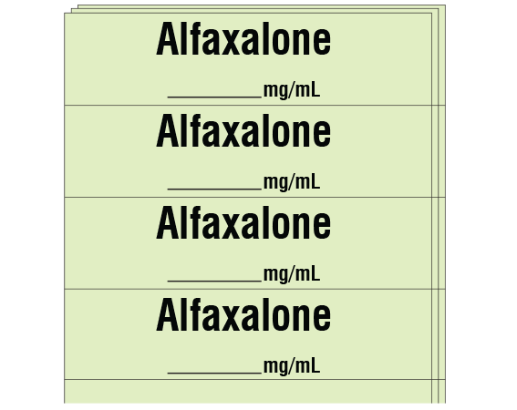 """Lime 1/2"""" x 2"""" Anesthesia Drug Labels for Syringe Identification - Pack Form  - With Imprint: Alfaxalone / _____ mg/mL"""