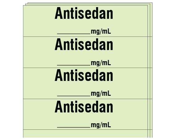 """Lime 1/2"""" x 2"""" Anesthesia Drug Labels for Syringe Identification - Pack Form  - With Imprint: Antisedan / _____ mg/mL"""