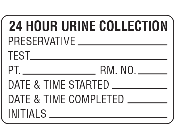 """White 1-3/4 """" x 2-3/4'"""" Information Labels for 24 Hour Urine Collection  - With Imprint: 24 HOUR URINE COLLECTION / PRESERVATIVE _____ / TEST _____ / PT. _____ RM. NO. _____ / DATE & TIME STARTED _____ ..."""