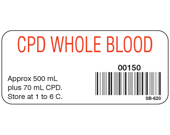 """White 1"""" x 2-1/4"""" Blood Product Labels with Codabar Symbology  - With Imprint: CPD WHOLE BLOOD / 00150 / Approx 500 mL / plus 70 mL CPD. / Store at 1 to 6 C."""