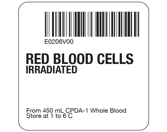 """White 2 """" x 2"""" Red Blood Cells Product Labels for Compliance with ISBT 128 Standards  - With Imprint: E0206V00 / RED BLOOD CELLS / IRRADIATED / From 450 mL CPDA-1 Whole Blood / Store at 1 to 6 C"""