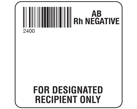 """White 2 """" x 2"""" Designated Recipient Group Type Labels for Compliance with ISBT 128 Standards  - With Imprint: 2400 / AB / Rh Negative / FOR DESIGNATED / RECIPIENT ONLY"""