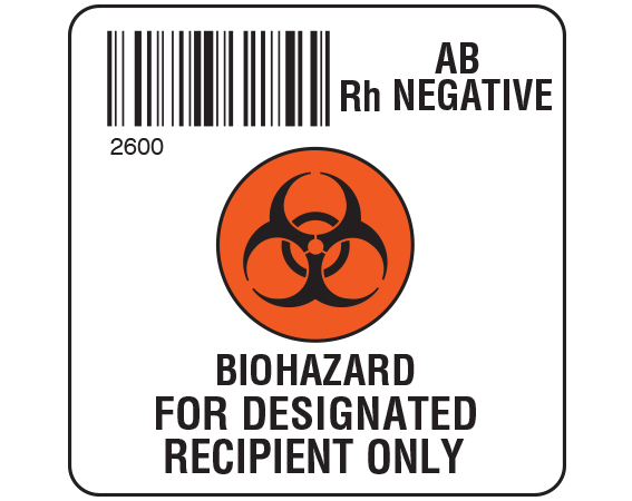 """White 2 """" x 2"""" Biohazard Designated Recipient Group Type Labels for Compliance with ISBT 128 Standards  - With Imprint: 2600 / AB / Rh Negative / BIOHAZARD SYMBOL / BIOHAZARD / FOR DESIGNATED / RECIPIENT ONLY"""