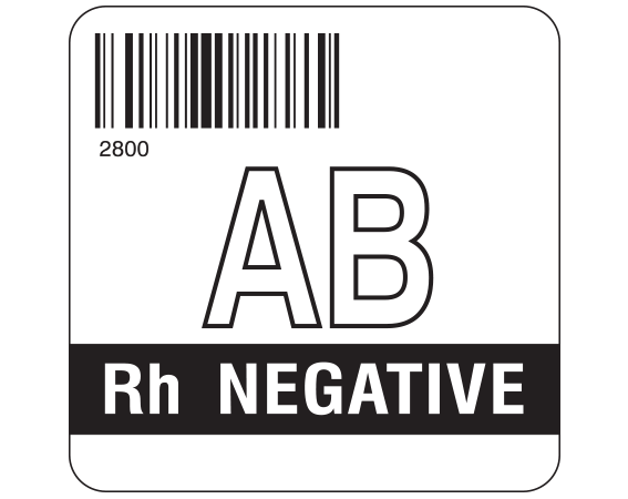 """White 2 """" x 2"""" Group Type Labels for Compliance with ISBT 128 Standards  - With Imprint: 2800 / AB / Rh NEGATIVE"""