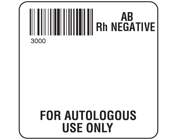 """White 2 """" x 2"""" Autologous Group Type Labels for Compliance with ISBT 128 Standards  - With Imprint: 3000 / AB / Rh Negative / FOR AUTOLOGOUS / USE ONLY"""