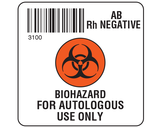 """White 2 """" x 2"""" Biohazard Autologous Group Type Labels for Compliance with ISBT 128 Standards  - With Imprint: 3100 / AB / Rh Negative / BIOHAZARD SYMBOL / BIOHAZARD / FOR AUTOLOGOUS / USE ONLY"""