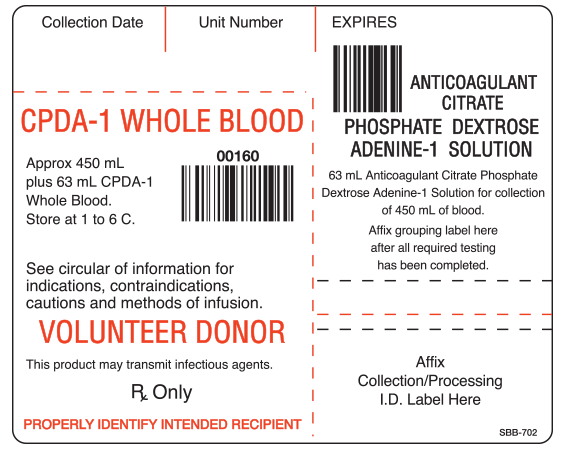 """White 3-1/4"""" x 4"""" Blood Bag Base Labels with Codabar Symbology  - With Imprint: Collection Date Unit Number EXPIRES / CPDA-1 WHOLE BLOOD...00160... / VOLUNTEER DONOR..."""