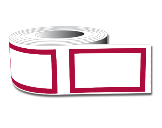 """White 1"""" x 1-5/8"""" Red Border Labeling Tape for the Laboratory"""