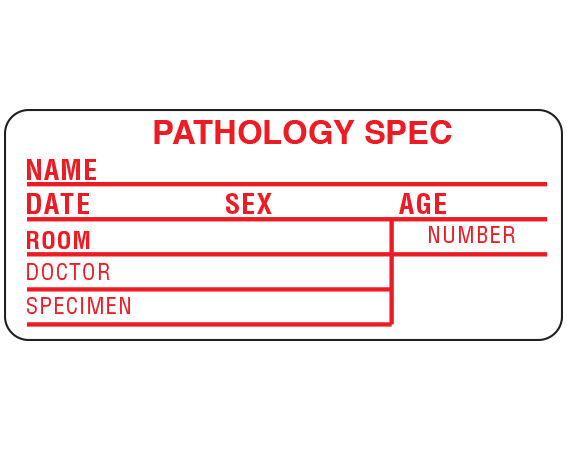 """White 1-1/2"""" x 3-1/2"""" Information Labels for Pathology Specimen Collection  - With Imprint: PATHOLOGY SPEC / NAME _____ / DATE _____ SEX _____ AGE _____ ..."""