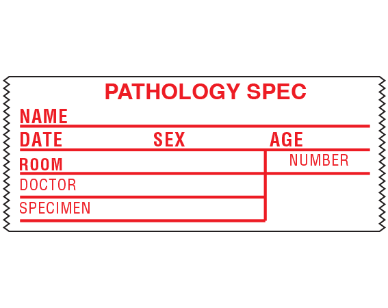 """White 1-1/2"""" x 3-1/2"""" Information Tape Labels for Pathology Specimen Collection  - With Imprint: PATHOLOGY SPEC / NAME _____ / DATE _____ SEX _____ AGE _____ ..."""