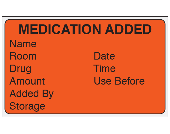 """Fluorescent Red 1-1/2"""" x 2-1/2"""" Medication Added Identification Labels  - With Imprint: MEDICATION ADDED / NAME / ROOM DATE / DRUG TIME / AMOUNT USE BEFORE /ADDED BY / STORAGE"""