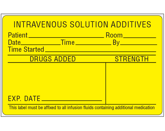 """Yellow 2-1/2"""" x 4"""" Intravenous Solution Additives Identification Labels  - With Imprint: INTRAVENOUS SOLUTION ADDITIVES / PATIENT __ ROOM __ / DATE __ TIME __ BY __ / TIME STARTED __ / DRUGS ADDED STRENGTH / EXP. DATE"""