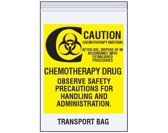"""Clear 6"""" x 9"""" Reclosable Poly Biohazard Bags for Chemotherapy Drug Transport  - With Imprint: CAUTION / CHEMOTHERAPY MATERIAL / AFTER USE"""