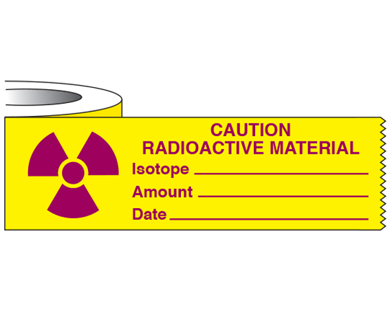 """Yellow 1"""" x 500"""" Radioactive Materials Warning Tape  - With Imprint: CAUTION / RADIOACTIVE MATERIAL / ISOTOPE _____ / AMOUNT _____ ..."""