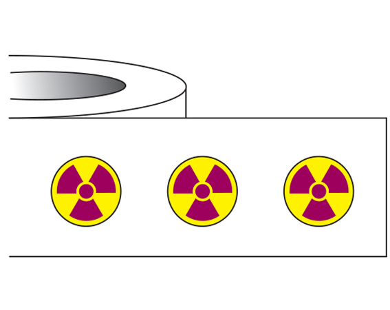 "Yellow 1/4"" DIAMETER Radioactive Materials Warning Labels  - With Imprint: RADIOACTIVE SYMBOL"