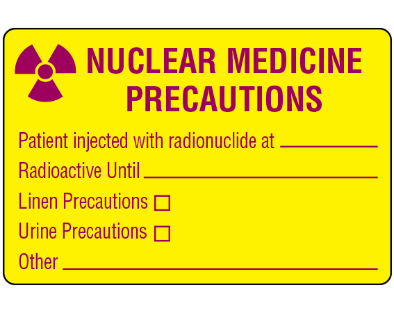 """Yellow 2"""" x 3"""" Shamrock Labeling Systems -- Radioactive Warning Labels and Tape  - With Imprint: NUCLEAR MEDICINE / PRECAUTIONS / Patient injected with radionuclide at _____ / Radioactive Until _____ / Linen Precautions / Urine Precautions / Other _____"""