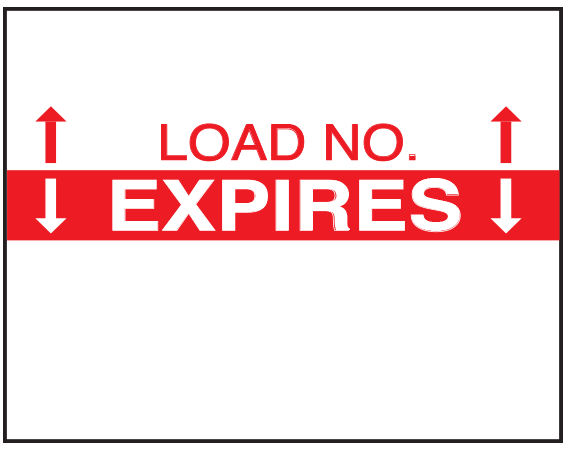 """White .647"""" x .780"""" Single Ply Expiration Labels for Monarch 1136 Labeling Gun  - With Imprint: LOAD NO. / EXPIRES"""