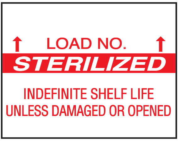 """White .647"""" x .780"""" Single Ply Sterilization Labels for Monarch 1136 Labeling Gun  - With Imprint: LOAD NO. / STERILIZED / INDEFINITE SHELF LIFE / UNLESS DAMAGED OR OPENED"""