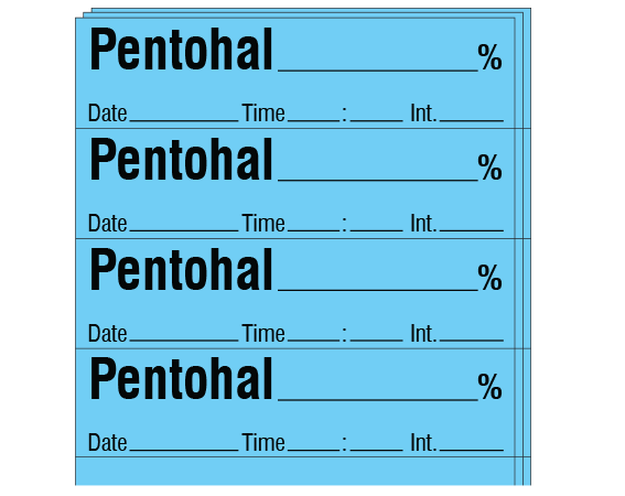 """Blue 1/2"""" x 2"""" Anesthesia Drug Labels for Syringe Identification - Pack Form  - With Imprint: PENTOTHAL _____ % / Date _____ Time _____ Int. _____"""